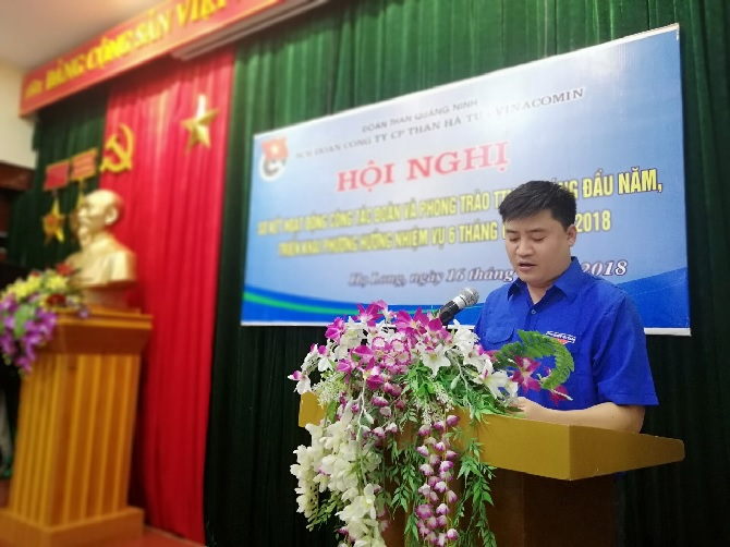 Đ/c Trần Việt Cường- Bí thư Đoàn TN Công ty: Báo cáo sơ kết công tác Đoàn và phong trào TTN 6 tháng đầu năm, phương hướng nhiệm vụ 6 tháng cuối năm 2018